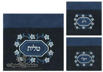 """סט שקיות שלוש חלקים לטלית ותפילין - חב""""ד דגם  כחול מעוין עיטורים"""