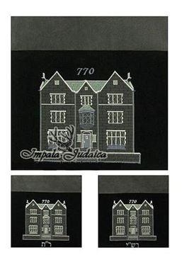 """סט שקיות שלוש חלקים לטלית ותפילין - חב""""ד דגם 770  -  אפור שחור"""