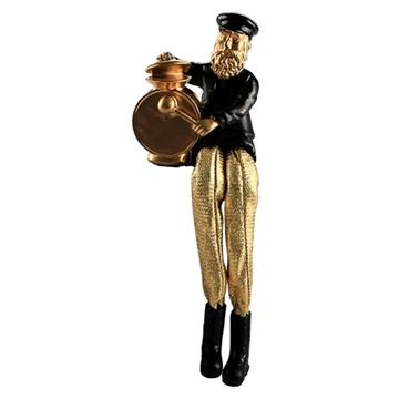 תמונה של חסיד יושב מפוליריזן מוזהב עם רגלי בד זהב מנגן