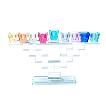 תמונה של חנוכית קריסטל קנים צבעוניים