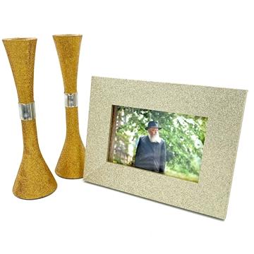 תמונה של סט מסגרת וזוג פמוטים בציפוי מנצנץ צבע זהב