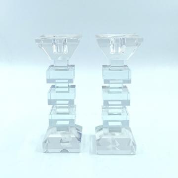 """תמונה של זוג פמוטים ריבועים קריסטל - 18 ס""""מ"""